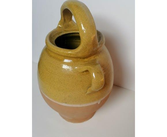 Cruche gargoulette émaillée jaune