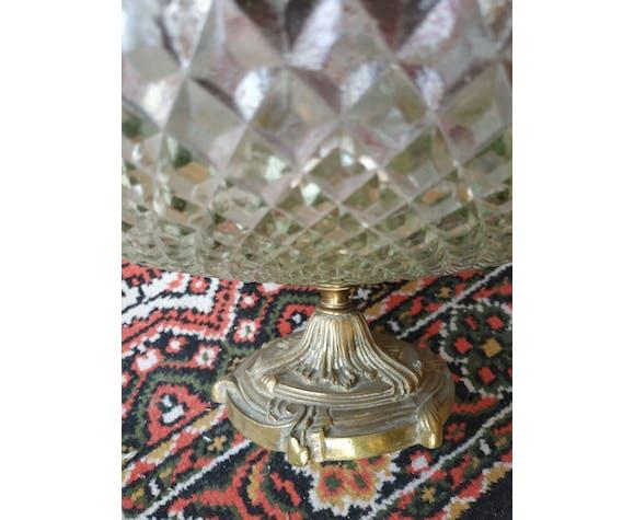 Coupe ancienne en verre pied en bronze