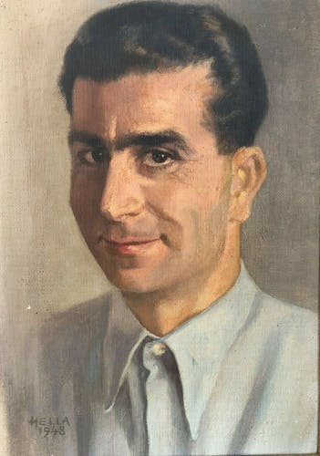 Oil portrait on canvas by Hella, 1948