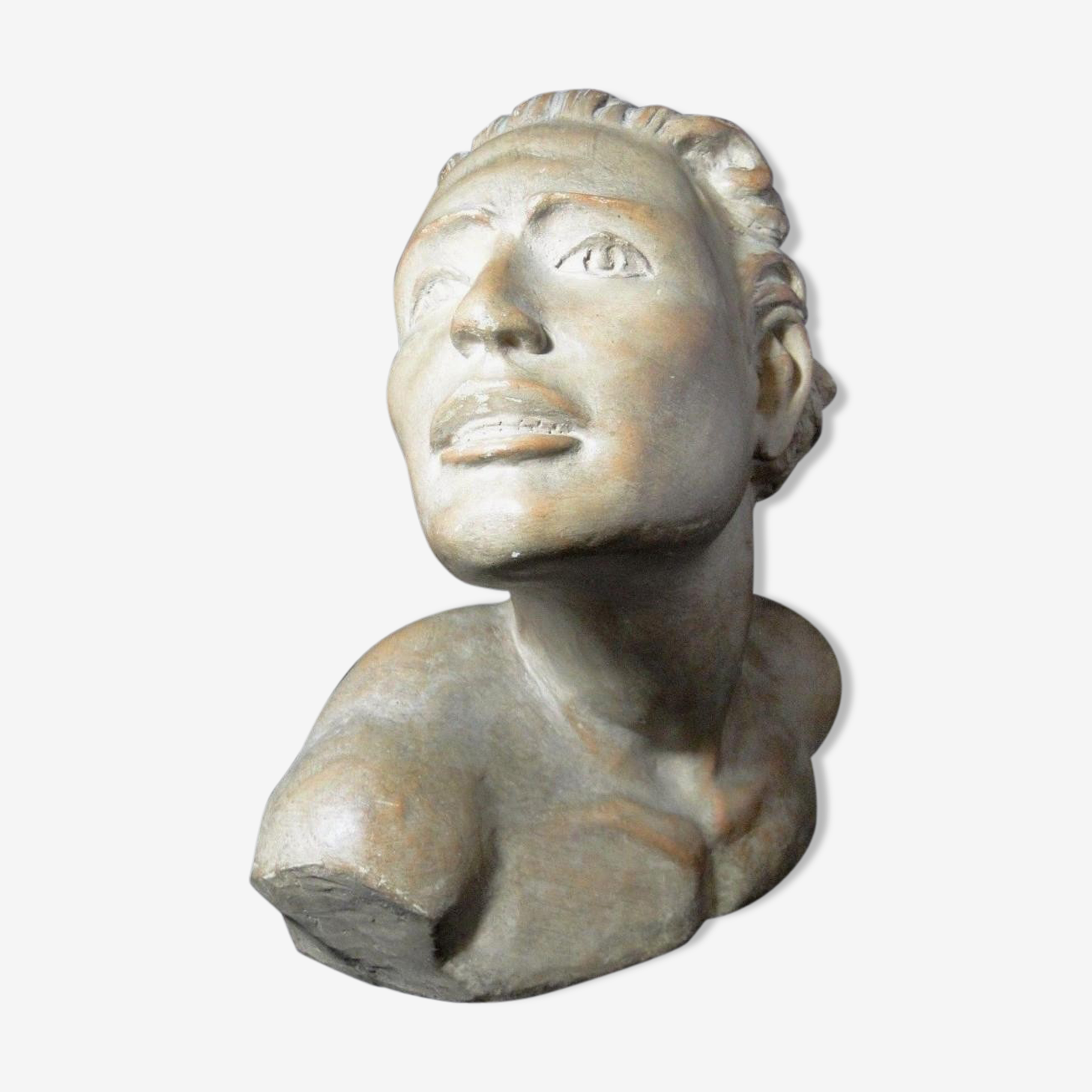 Buste homme en platre sculpture art déco