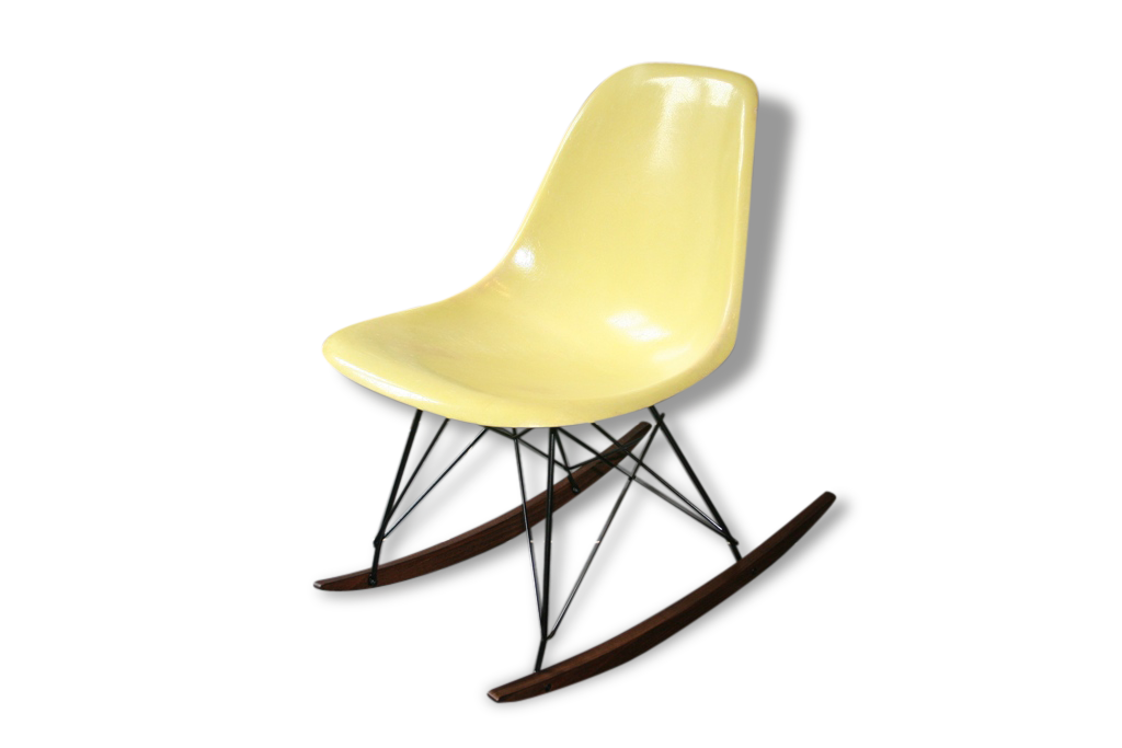 Eames Chaise À Bascule Rocking Chair Jaune Pale Herman Miller