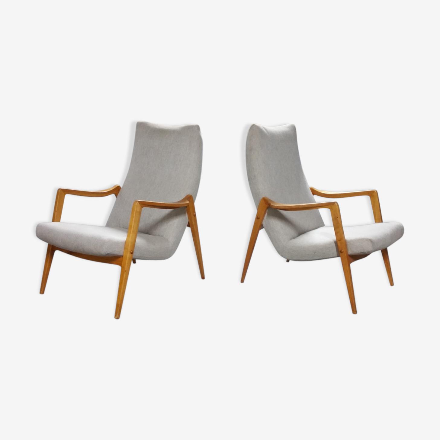 Paire de fauteuils scandinave compas années 50