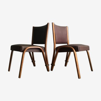 Chaises steiner vintage  bow wood