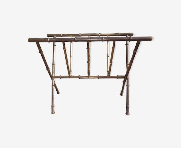 Porte revue vintage en métal doré façon bambou