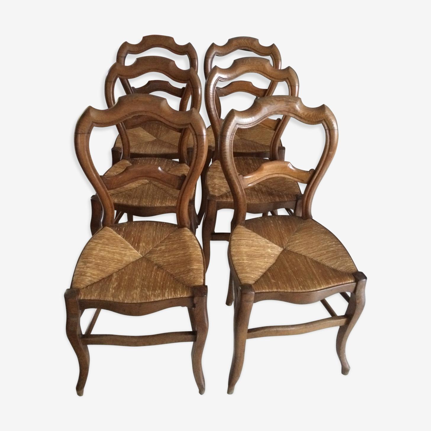 Chaises En Paille Style Louis Philippe Bois Matériau Bois