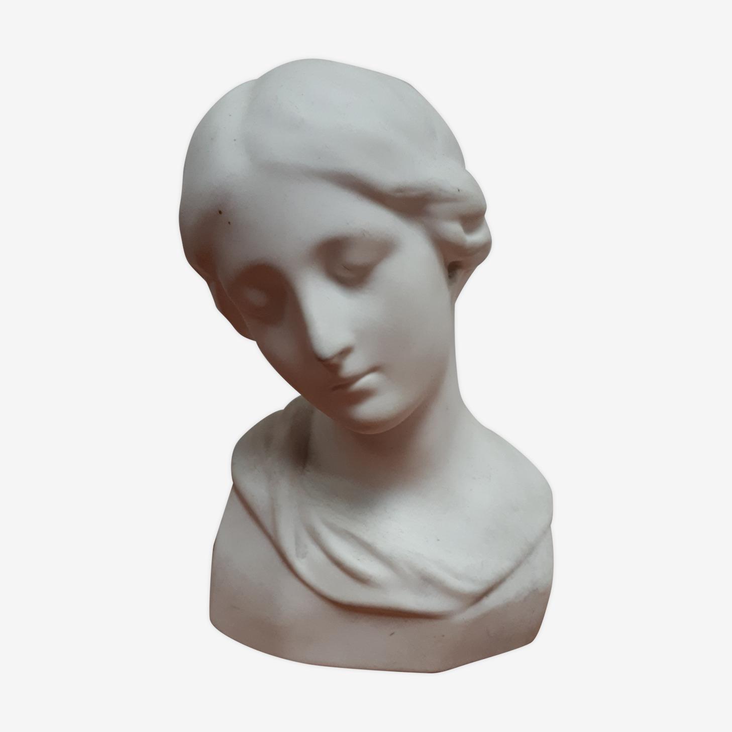 Buste biscuit porcelaine Limoges tête de jeune femme d'aprés Donatello