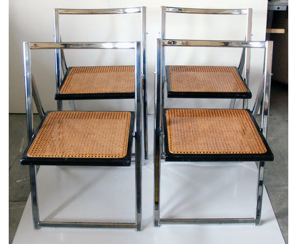 Set de 4 chaises pliantes cannage & chrome