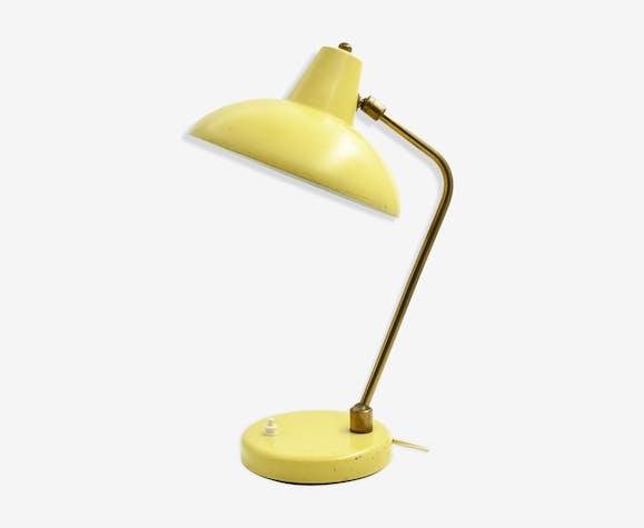 Lampe de bureau vintage jaune citron laiton jaune vintage