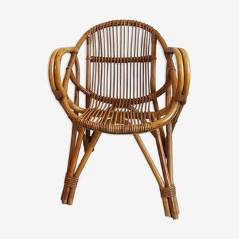 Rattan armchair and vintage Wicker-compass feet