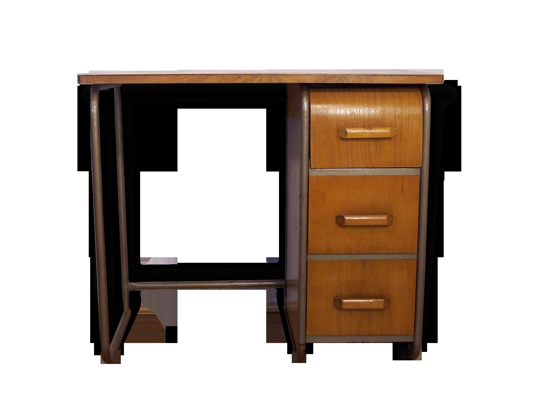 Bureau bois et métal tiroir arrondi bois matériau bois