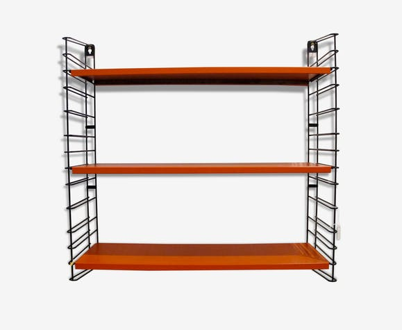 Etagere murale m tallique tomado 1960 m tal orange for Etageres murales metalliques