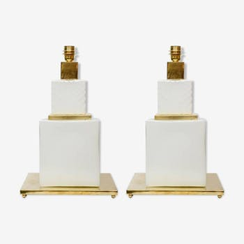 Pair of Murano and Brass glass table lamps (1995)