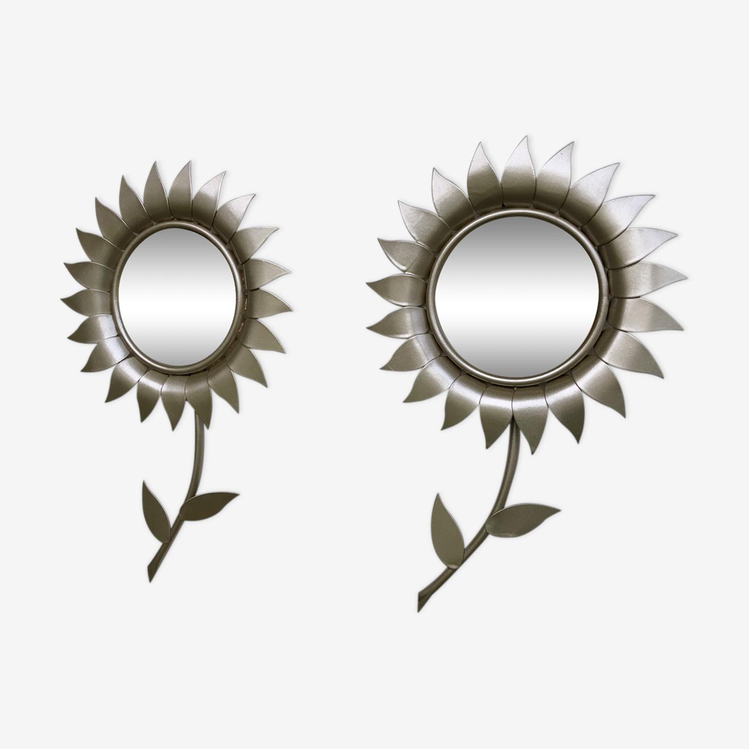 Paire de miroirs fleurs