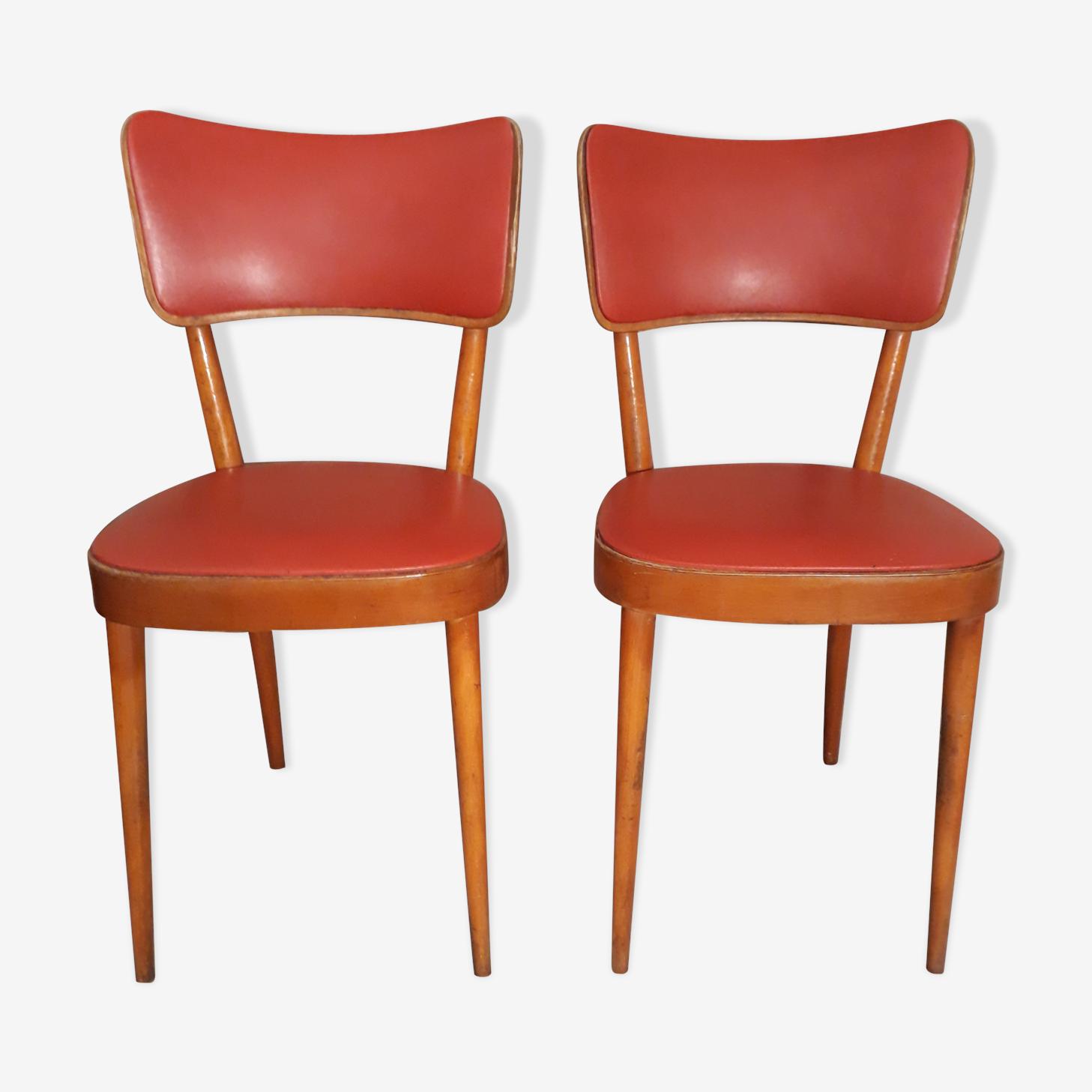 Paire de chaises bistrot Baumann 1950 skai rouge