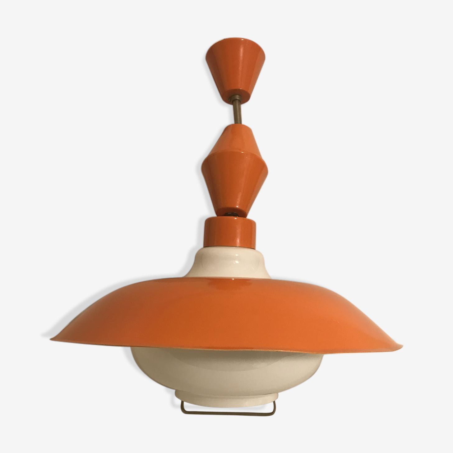 Suspension ancienne verre opalin blanc, support & globe métal orange annees 70 vintage