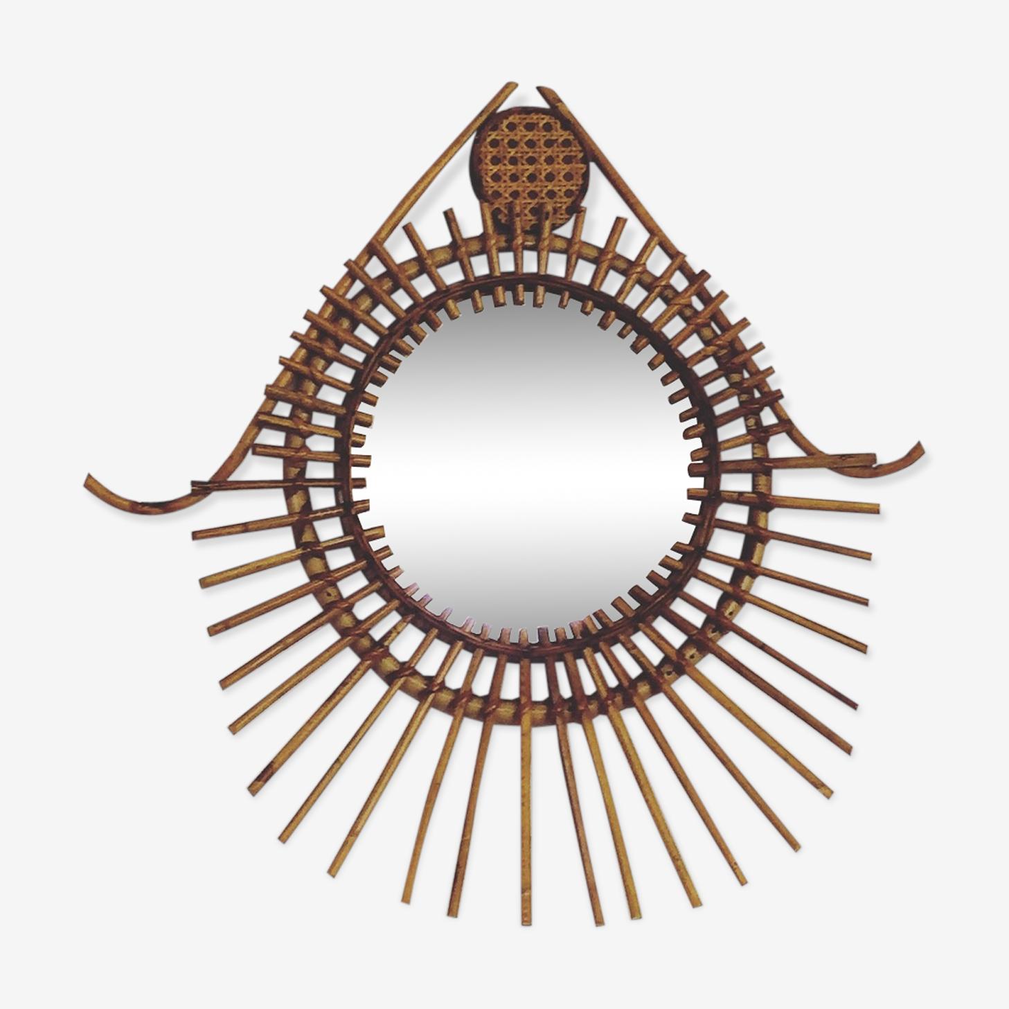 Miroir rotin en forme oeil vintage 58x60cm