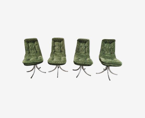 Chaises vintage velour vert pieds chromés