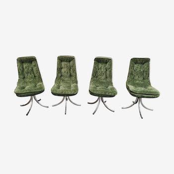 Vintage feet green velvet chairs chrome
