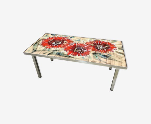 "Coffee table ""La grange"" Vallauris vintage ceramic mosaic"