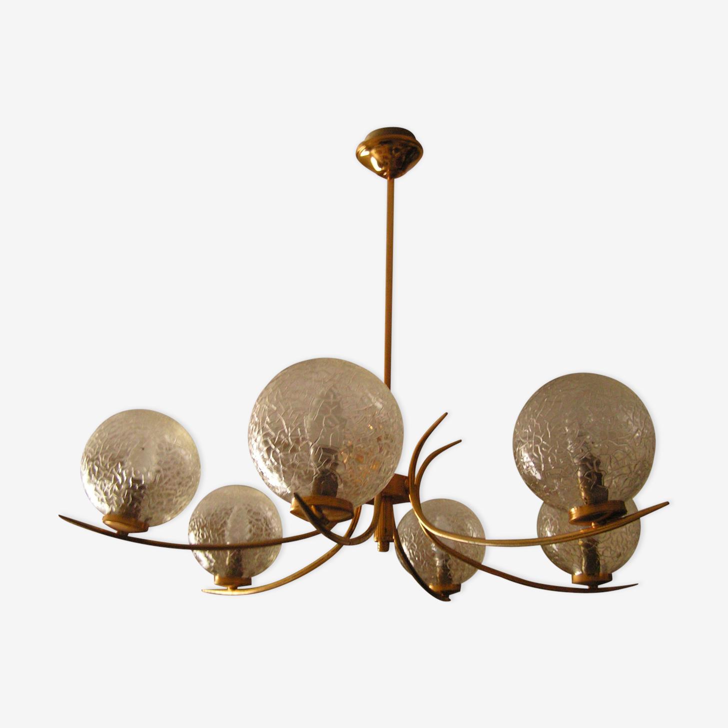 Lustre 6 globes en verre craquelé