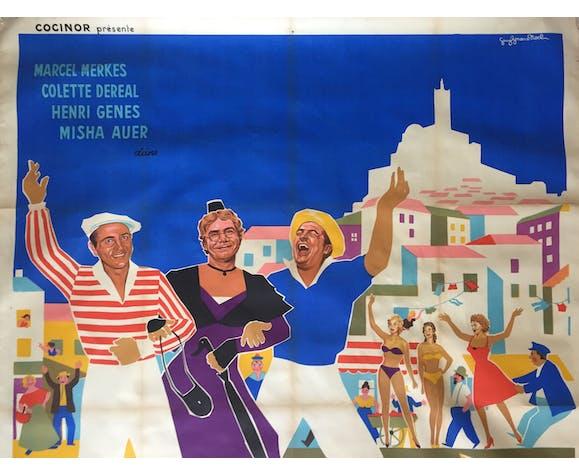 """Affiche cinéma """"Trois de la Canebière"""" Marseille 120x160cm 1956"""