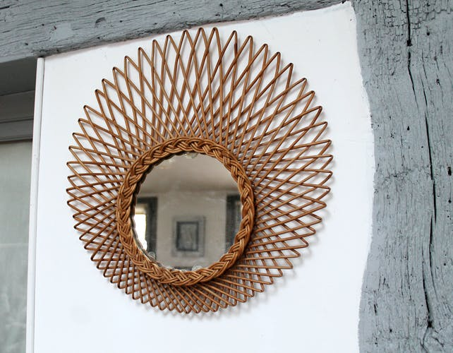 Miroir en rotin 46x46cm