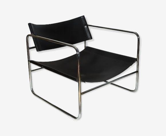 fauteuil cuir et chrome ann es 70 cuir noir vintage. Black Bedroom Furniture Sets. Home Design Ideas