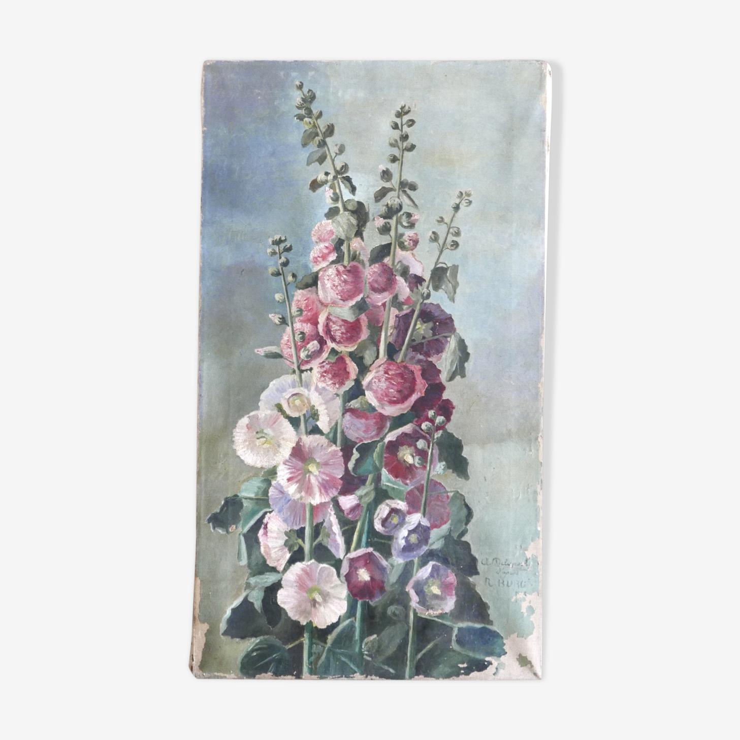 """Peinture à l'huile """"Roses trémières"""" années 30"""