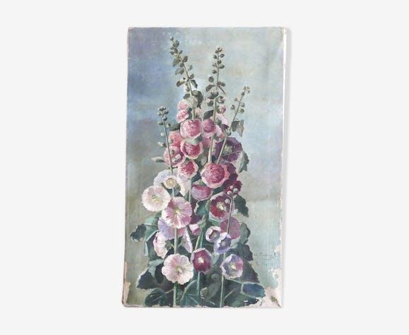 Peinture A L Huile Roses Tremieres Annees 30 Toile Rose Art