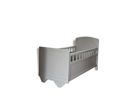 lit b b ancien ann es 30 40 bois mat riau gris vintage 34278. Black Bedroom Furniture Sets. Home Design Ideas