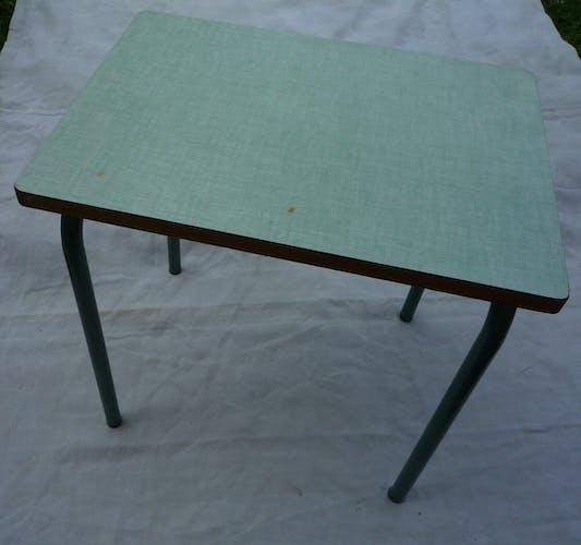 Table d'écolier en bois métal et formica vintage 70s