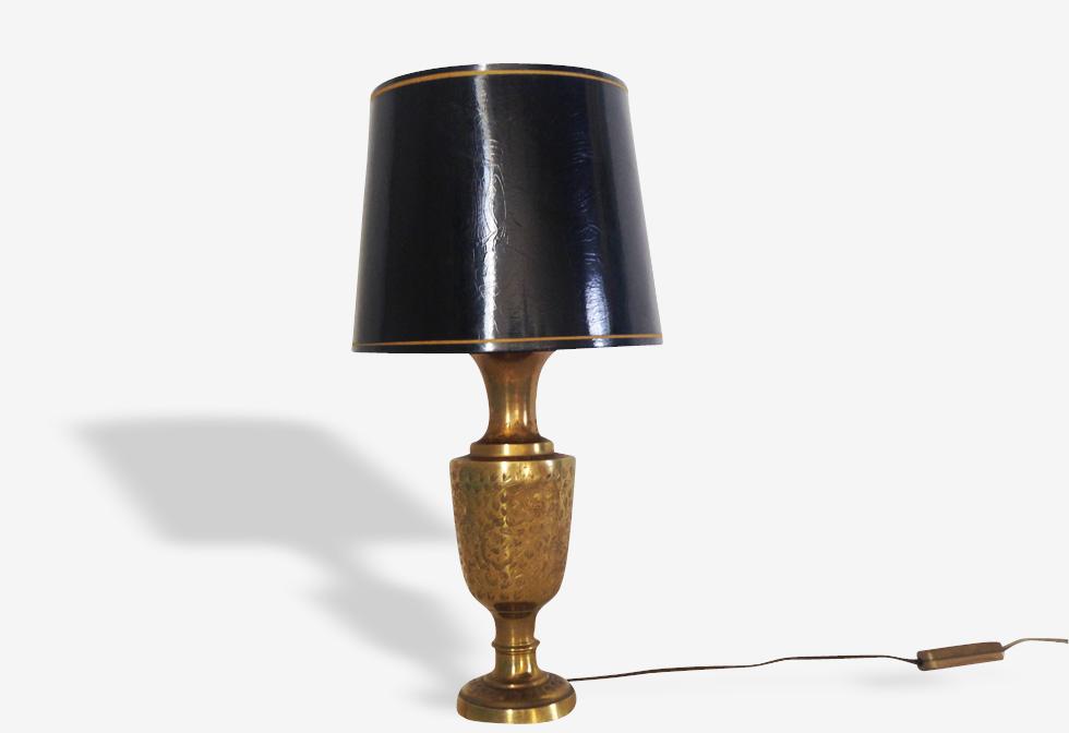 Lampe en laiton mid-century