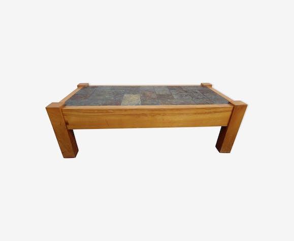 Table basse en ardoise et bois massif - wood - multicolour ...