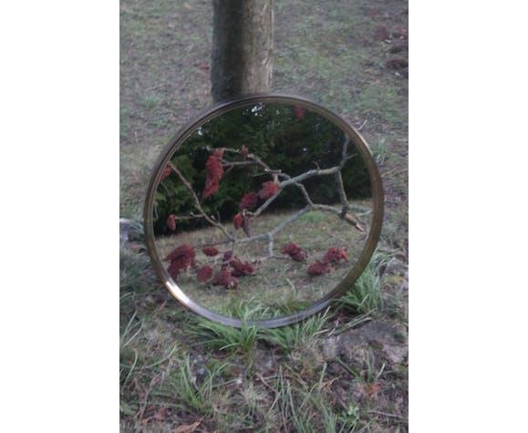 Miroir vintage rond en plexiglas marron