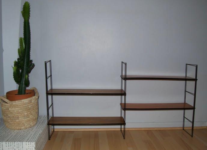 Etagères modulables métal et bois années 70