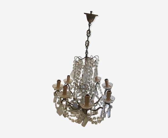 Lustre cage bronze et cristal baccarat à pampilles 8 feux