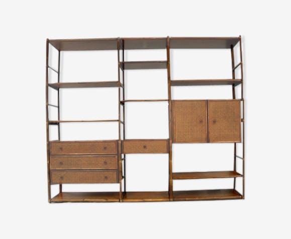 biblioth que bambou rotin et acajou roche bobois 1980. Black Bedroom Furniture Sets. Home Design Ideas
