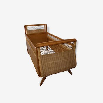 Cot oak and rattan with foot compass