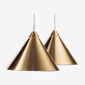 Pair of aluminium hanging lamp by Haga belysning Sweden 1970s