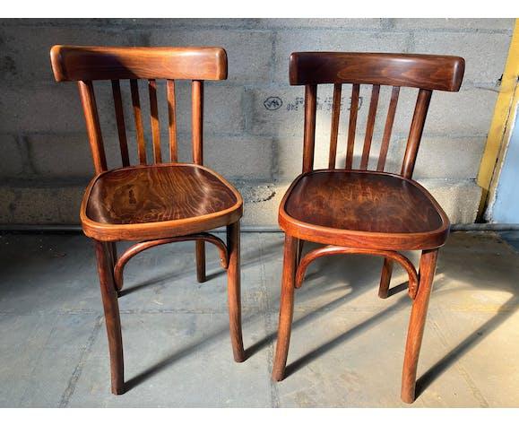Ancienne paire de chaises bistrot Baumann des années 50