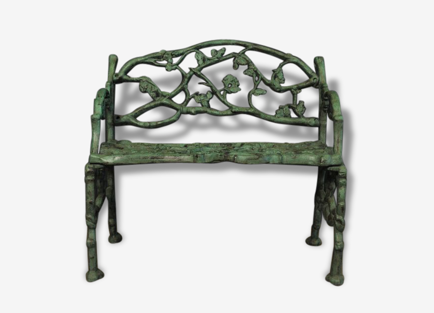 Petit Banc En Fonte A Decors Vegetal Melting Green Art Deco