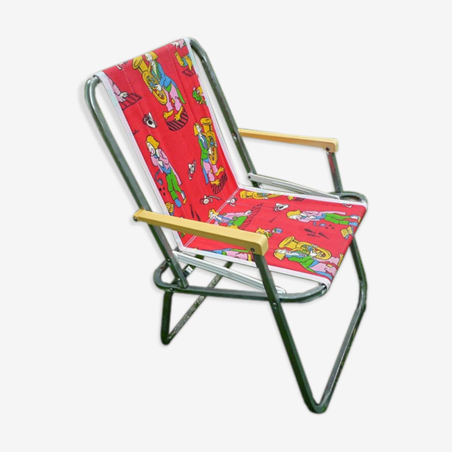Chaise pliante de camping enfant vintage 70s