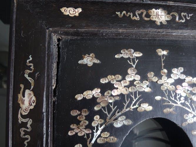 Paire de cadres en bois chinois marqueterie de nacre Vietnam XIX