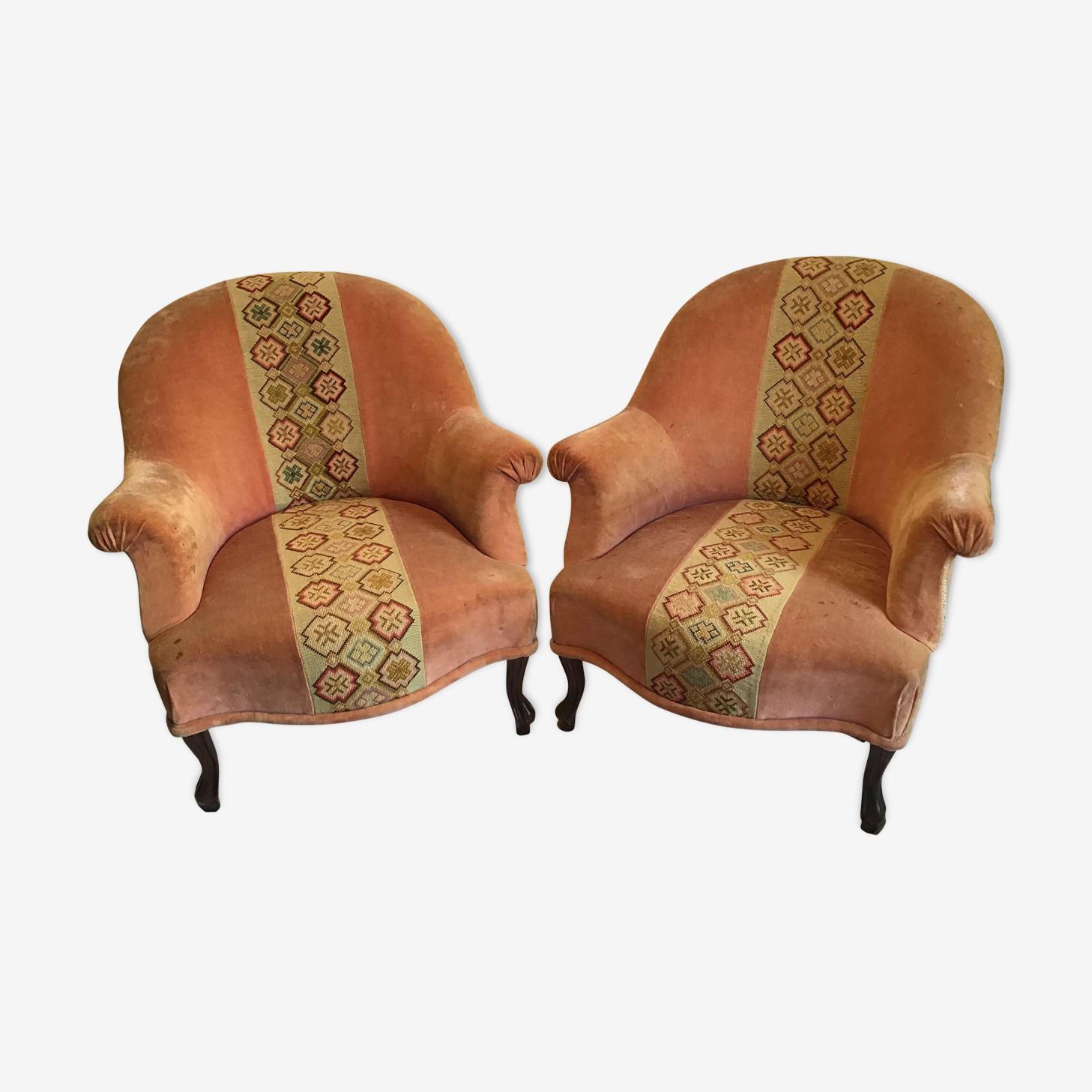 Pair of toad armchairs