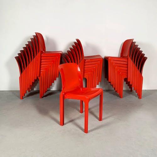Chaise Selene Rouge par Vico Magistretti pour Artemide, 1970