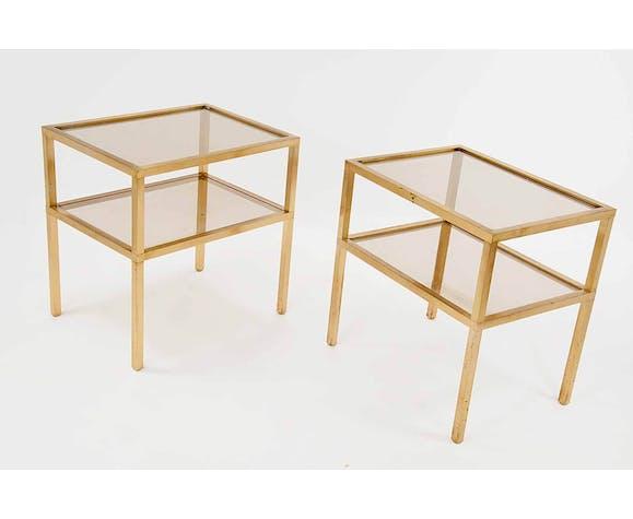 Paire de tables d'appoint en laiton et métal, 1970