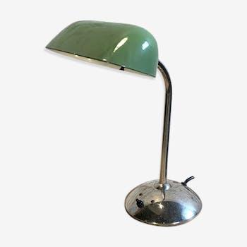 Lampe vintage vert émail banque années 1930