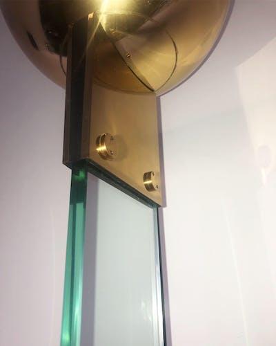Lampadaire italien design vintage verre et laiton Lamperti