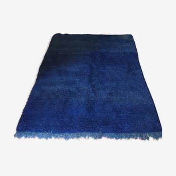 Carpet Berber handcrafted cobalt blue, colors natural pure wool 210 x 165