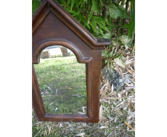 Miroir encadrement bois forme de chapiteau 65x45cm
